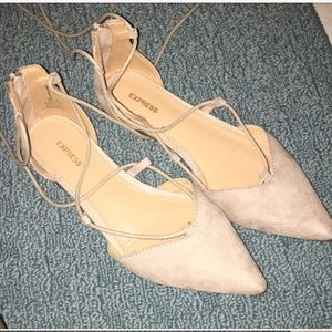 Express lace up nude flats loafers shoes